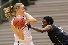 Florida State's Natasha Howard, right, guards Stanford's Mikaela Ruef (3)