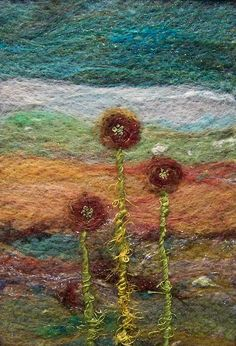 5 x 7 needlefelted wool on felt with embroidery