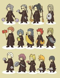 Organization XIII and their joke weapons from Kingdom Hearts Days. So cute. Kingdom Hearts 3, Kingdom Hearts Organization 13, Pokemon, Game Character, Character Concept, Best Games, Final Fantasy, Tags, Chibi