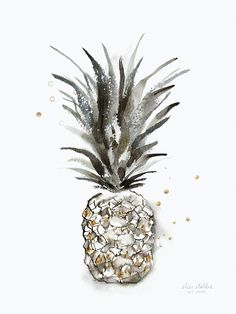 Pineapple art –«Tropical Diamond» – Limited edition, signed and numbered art print by Elise Stalder.