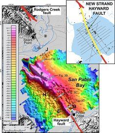 Hayward and neighboring Rodgers Creek faults are 188 miles long combined - and if they broke simultaneously they could produce a magnitude quake, researcher have warned. Earthquake Fault, San Pablo Bay, Earth Quake, Symbolic Representation, Warm Colors, Color Show, Connection, San Francisco, Map