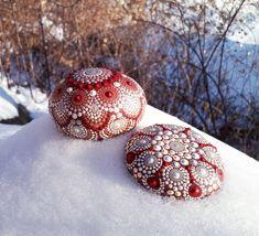 Mandala Stone Set-Hand Painted-RedBronzeCream and White Dot Art Painting, Painting Patterns, Stone Painting, Mandala Artwork, Mandala Painting, Mandala Rocks, Stone Mandala, Painted Rocks, Hand Painted