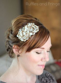 ON SALE  Tan Stripes Flower Headband for Women by RufflesAndFringe, $9.00