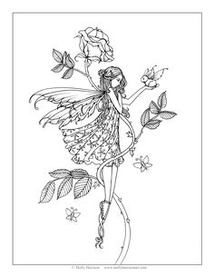 "Free Fairy Coloring Page by Molly Harrison Fantasy Art ""Rose's Friend"""