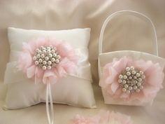 Flower Girl Basket, and Pillow, Blush and Pearls Flower Girl Basket Set, White or Ivory via Etsy