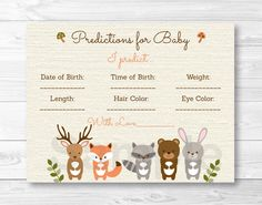Woodland Forest Animal Baby Predictions Card Baby Shower Game / Deer / Fox / Bear / PRINTABLE INSTANT DOWNLOAD by LittlePrintsParties on Etsy https://www.etsy.com/listing/223659099/woodland-forest-animal-baby-predictions