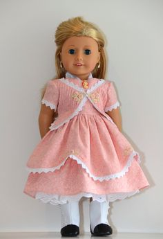 American Girl Doll clothing. Historical 1850's gown with smocking and hand-embroidered details by Simply 18 Inches.