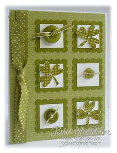 handmade St. Patrick's Day card ... challenge: Going Green! .... inchies with shamrocks, buttons and scalloped frames ...Stampin' Up!