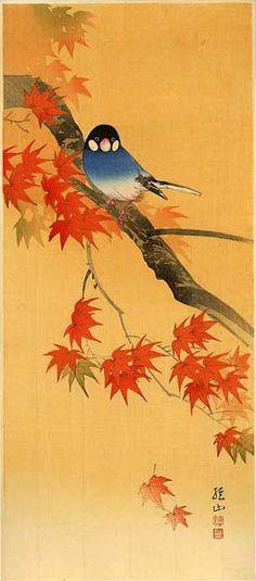 hanga gallery . . . torii gallery: Java Sparrow and Maple by Ito Sozan