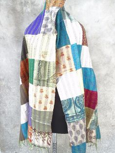 Vintage Bazaar One of a Kind Handmade Kantha Vintage Silk Scarf 106
