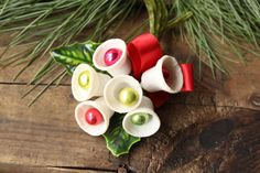 Vintage Christmas Corsage plastic bells by PhoebesTreasureChest