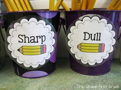 pencil bucket labels sharp and dull freebie