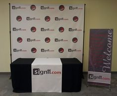 Step and Repeat with table cover and welcome banner. Welcome Banner, Table Covers, Repeat, Social Media, Marketing, Gallery, Products, Roof Rack, Table Clothes