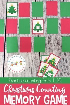 Help preschoolers practice counting from 1-10 with this fun Christmas Memory Game. They will work on number recognition and counting with this printable game. #homeschooling #christmas #mathcenters #mathcenter #preschool #homeschool https://homeschoolpreschool.net/christmas-counting-memory-game/