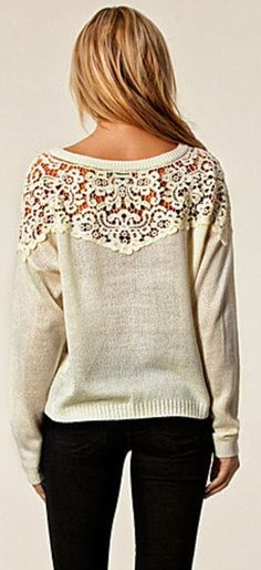 Love this sweater!! <3 <3 <3 www.DesignerOutletWholesale.mrslove.com 85% Discount OFF, fashion designer online outlet,  FREE SHIPPING WORLD WIDE, Crochet style detail comfy  sweatshirt