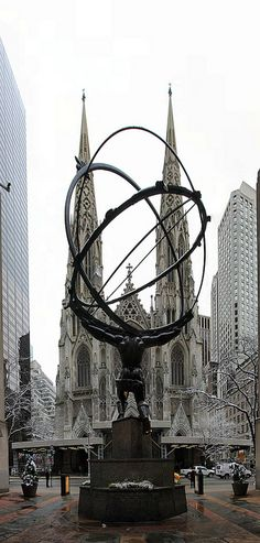 Atlas and St Patrick's Cathedral, New York City, USA