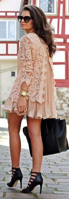 Asos Blush Pleated Lace Chiffon Mini Dress