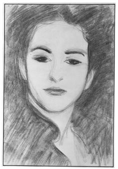 John Singer Sargent / Portrait Head of Carmencita / 1890 / Charcoal on off-white laid paper