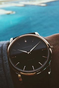 thelavishsociety: Rose Gold/Black Dial Heritage 40 by Corniche Watches Mens Designer Watches, Luxury Watches For Men, Bracelet Cuir, Bracelet Watch, Cool Watches, Rolex Watches, Or Noir, Herren Style, Beautiful Watches