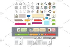 Set of Timeline Icons with Infographic Diagrams by robuart on @creativemarket