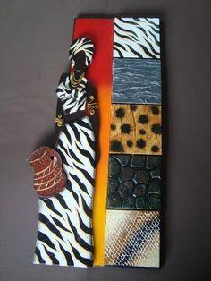 Resultado de imagen para plantillas de mulatas African Dolls, African Masks, African Figurines, African Art Paintings, Les Continents, Art Africain, Indian Crafts, Africa Art, Unique Wall Art