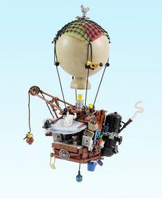 Da Brickpimp iz bringing you da latest an' greatest builder models an' LEGO® news from all ova da internet and shiz. Plastic brick creations, by adults, for adults. Balloon Shop, Air Balloon, Balloons, Lego Steampunk, Steampunk Crafts, Dragon Robot, Legos, Lego Creator Sets, Lego Knights