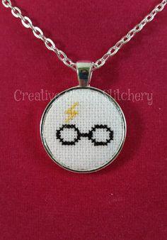 Cross Stitch Necklace Book & Movie Glasses by chaoticstitchery