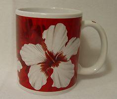 Hilo Hattie Nostalgia Hibiscus Red Coffee Mug/Cup, Hawaiian, Floral, EC Mug Cup, Hibiscus, Hawaiian, Coffee Mugs, Nostalgia, Cups, Plates, Island, Tableware