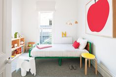 Team hits of colour – bites of red, splices of green and a zing of yellow - with classic forms. #kids #bedroom #colour
