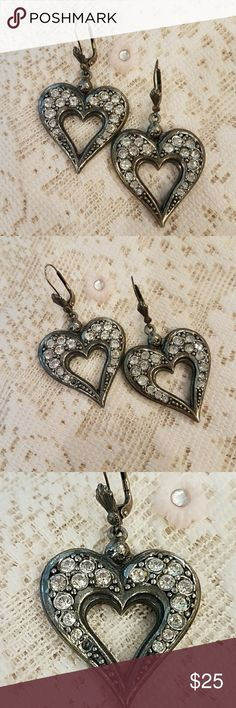 Vintage Antiqued Heart Earrings One of my sentimental favorites! These antiqued rhinestone heart earrings are true vintage. Amazing detail - even the leverback wire has a decorative design. One small rhinestone is missing as shown in photo - not noticeable imho or could be replaced, if desired. Jewelry Earrings