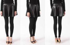 Korean Women's Flare Skirt Leggings Warm Fleece inside Leather Cute Stylish NWT #flareskirt #leatherskirt #skirtleggings