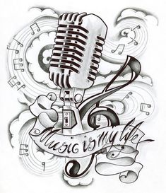 New School Microphone Tattoo Designs Music is my life tattoo Music Tattoo Designs, Music Tattoos, Life Tattoos, Body Art Tattoos, Sleeve Tattoos, Music Designs, Music Drawings, Music Artwork, Tattoo Drawings