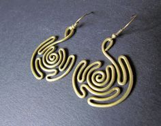 Spiral Labyrinth Wire Wrapped Brass Earrings by Hvitolg on Etsy, $11.00