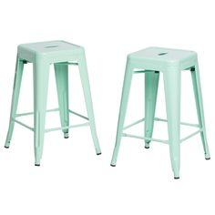 These mint green metal counter stools by Tabouret make a striking addition to any kitchen or bar area. The stark, angular lines add to the contemporary look of these 24-inch counter stools, while the