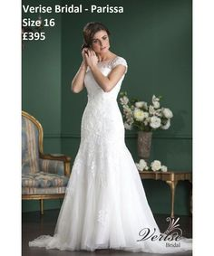 f4a723f8a A stunning lace mermaid gown with capped sleeves on sale from .Lechelles Bridal  SALE PRICE