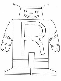 R Robot Alphabet Coloring Pages Book