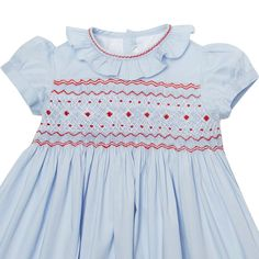 Baby girl blue hand-smocked cotton dress by Pepa & Co