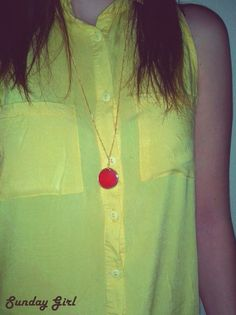 Brass handmade necklace - red