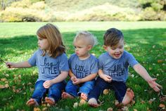 Sibling tees, photoshoot ideas, little middle big, new baby, baby announcement