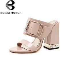 c892faa35 BONJOMARISA 2018 Summer New Brand Women Mules Big Size 34-40 High Heels Shoes  Woman Fashion Pearl Buckle slip-on Pumps
