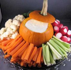 Love this idea! Another great use for mini pumpkins - on a healthy veggie platter!