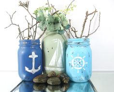 Distressed, Hand Painted Mason Jars | Tabletop Decor, Nautical, Beach Themed Mason Jars -- Rustic - Style, Home Decor