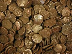 Late Iron Age coin hoard of 840 gold staters, about AD 15-20.