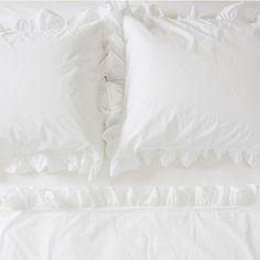 Rachel Ashwell Liliput Ruffle King White Flat Sheet