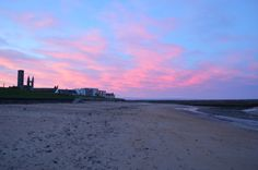 Pink Clouds Over East Sands in St Andrews. St Andrews Scotland, Pink Clouds, Sands, Sunset, Beach, Water, Outdoor, Beautiful, Gripe Water