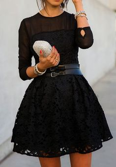 Black Patchwork Grenadine Lace Long Sleeve Dress - Mini Dresses - Dresses