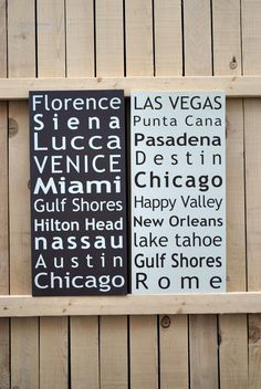 World Travel Sign Keepsake list of favorite by SignsToLiveBy