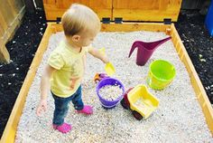 Substituting pea gravel for sand:  as someone who hates sandboxes, I approve.