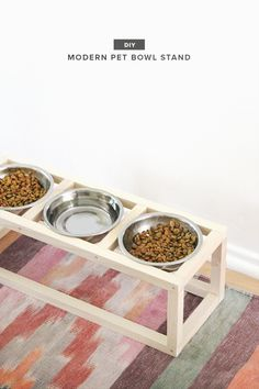 diy modern pet bowl stand (almost makes perfect) diy food Dog Food Stands, Dog Bowl Stand, Do It Yourself Ikea, Boho Home, Doja Cat, Pet Bowls, Diy Stuffed Animals, Pet Accessories, Diy Food