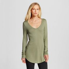 Women's Long Sleeve V-Neck Tee Olive Green Xxl - Mossimo